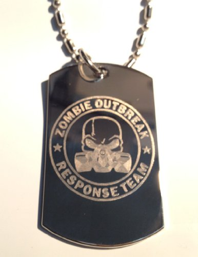 Zombie Outbreak Response Team Zort Z.O.R.T. Evil Skull Gas Mask Symbol - Military Dog Tag Luggage Tag Metal Chain Necklace