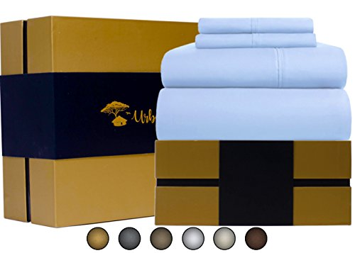 Price comparison product image Egyptian Cotton Sheets Set (4 Piece) 1000 Thread Count - Bedspread Deep Pocket Premium Quality Bedding Set, Luxury Bed Sheets for Hotel and Home Collection Soft Sateen Weave Gift (Queen, Light Blue)