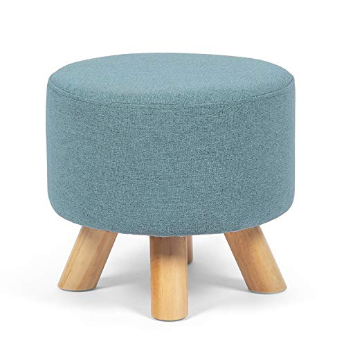 Edeco Modern Round Ottoman Foot Rest Stool/Seat Pouf Ottoman with Linen Fabric and Non-Skid Wooden Legs (Blue)