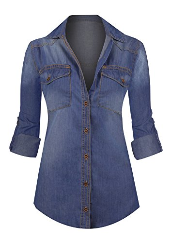 HOT FROM HOLLYWOOD Women's Button Down Roll Up Sleeve Classic Denim Shirt (Button Down Jeans)