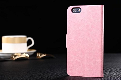 """Neway 2 in 1 Bundle for Apple iPhone 6(4.7"""" inch)Fashion Color High Quality Leather Flip Protective Wallet Cover Shell with HD Screen Protector,Color:buckle ID-pink"""