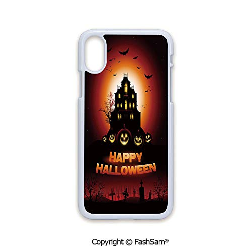 Phone Case Compatible with iPhone X Black Edge Happy Halloween Haunted House Flying Bats Scary Looking Pumpkins Cemetery Decorative 2D Print Hard Plastic Phone Case
