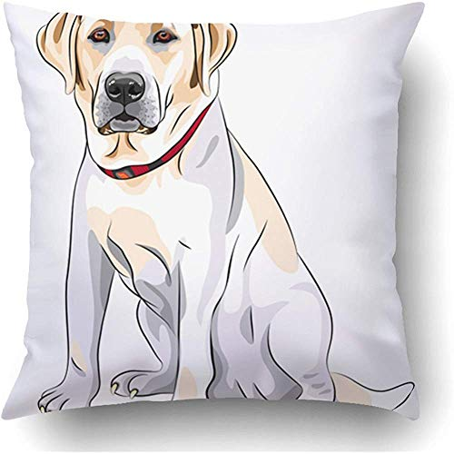 (Starowas Throw Pillow Covers Black Lab Portrait Close Up Serious Yellow Dog Breed Labrador Retriever Sits White Sketch Big Polyester 18 X 18 Inch Square Hidden Zipper Decorative)