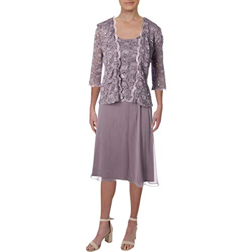 R&M Richards Women's Lace Pop Over Jacket Dress, Orchid 18