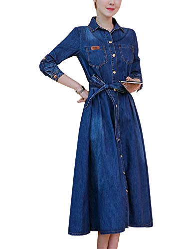 Omoone Women's Long Sleeve High Waist Distressed Denim Jean Dress Jacket (Blue Style 02, M)