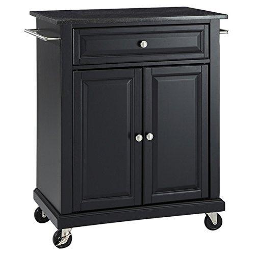 Kitchen Island Cart on Wheels with Granite Top Rolling Storage Cabinet  (Black)