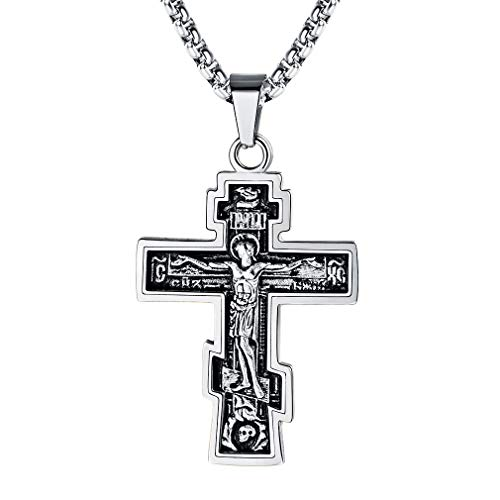 FaithHeart Byzantium Crucifix Cross Pendant Christian Jewelry Vintage Stainless Steel/18K Gold Plated Orthodox Church Necklace (Silver)
