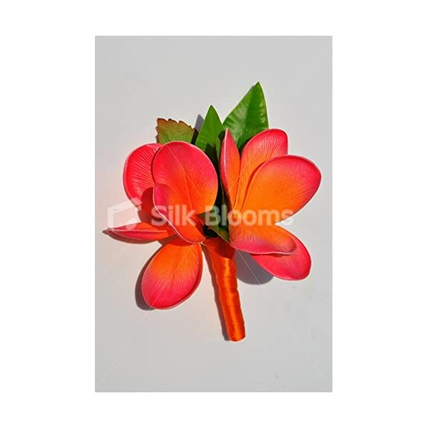 Artificial Orange and Pink Tipped Frangipani Double Buttonhole