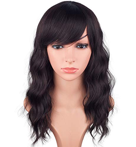 16 Inches Black Mix Brown Fashion Wavy Synthetic Hair Wigs For Black Women With Side Bangs Free Wig Cap (BLACK MIX BROWN(1B/33#)) (Black Hairstyles For Long Hair With Side Bangs)