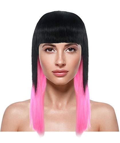 HalloweenPartyOnline Black Pink Bob Wig HW-1977 -