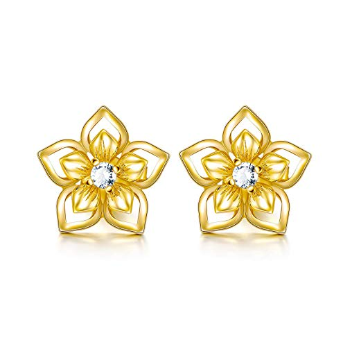 14K Solid Yellow Gold Flower Stud Earrings With Push Backs, Real Gold Elegant Jewelry Gift for Her