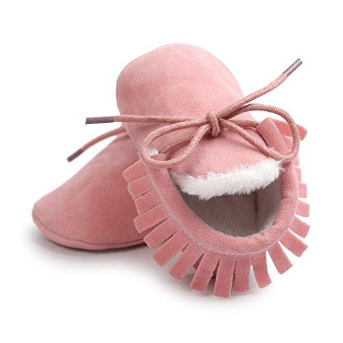 ESHOO Baby Boy Girl Mocasín Zapatos de suela suave antideslizante calzado gris oscuro Talla:0-6 meses rosa