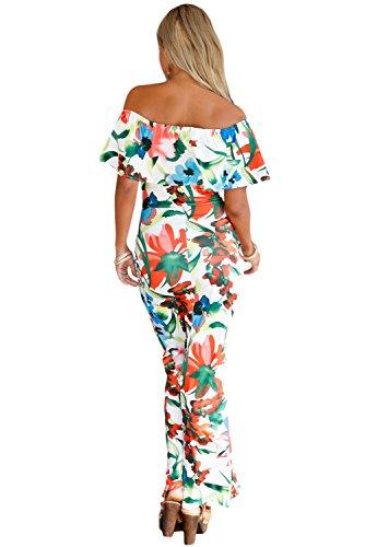 Damen Bright Floral Print Off Schulter Rüschen Maxi Kleid Club Wear ...