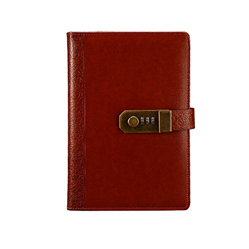 ToiM Retro PU Leather Business Journal Writing Notebook Fashion Daily Notepad with Combination Lock and Pen Holder, A5 Size Password Diary (Brown) by ToiM