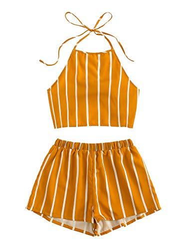(SweatyRocks Women's Striped 2 Piece Outfits Halter Crop Cami Top and Shorts Set Mustard M)