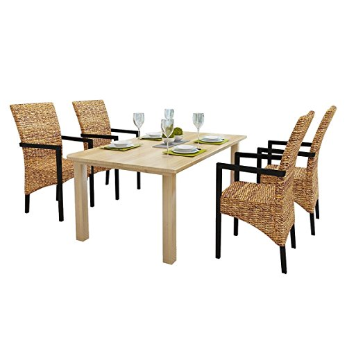 Rattan Wicker Chair Abaca Armchair Dining Chairs Solid Mango Table Dining Chair of 4 by HomeSweet
