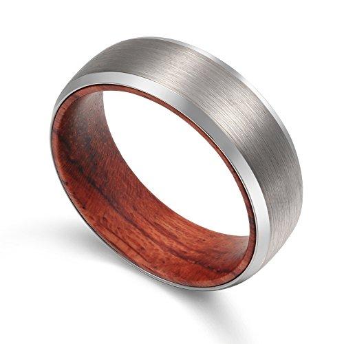 POYA Tungsten Ring with Wood Interior 8mm Men Women Wedding Band Beveled Edges Matte Finish Comfort Fit (8.5) ()