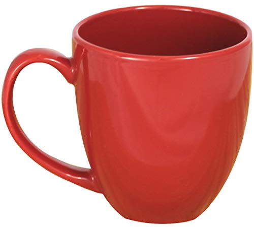 MinWill Brands Ceramic Bistro Coffee Mugs with Pan Scraper, 14 Ounce (Red, 4-Pack)