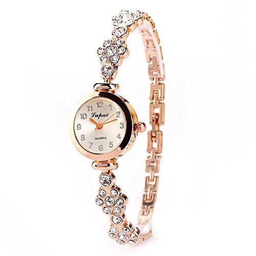 Marker Flower Quartz - dzsntsmgs Elegant Women Alloy Quartz Analog Flower Rhinestone Bracelet Dress Wrist Watch - Gold Flower, Bracelet Watch, Arabic Numerals Marker, Xmas Gift