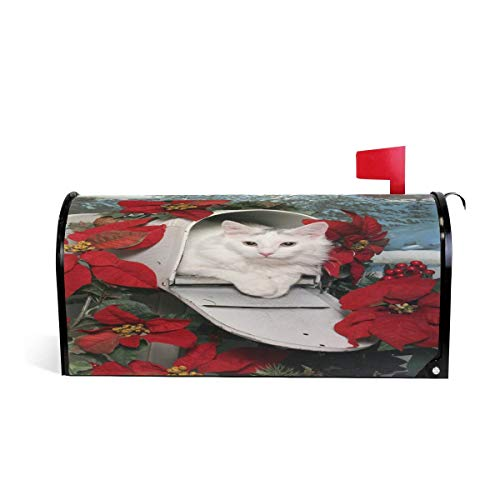 (Emliyma White Cat Mailbox Magnetic Mailbox Cover MailWraps, Red Christmas Poinsettias Large Mailbox Wraps Post Box Garden Yard Home Decor for Outside Oversized)