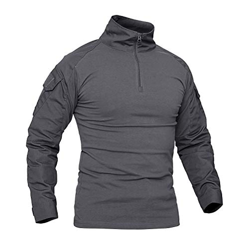 CRYSULLY Mans Army Outerdoor Tactical Hiking Shirts 1/4 Front Zip Mountaineering Shirts Army Gray