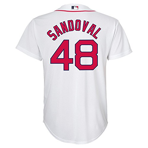 Outerstuff Youth Pablo Sandoval Boston Red Sox Cool Base White Tackle Twill Baseball Jersey (Large)