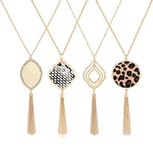 PHALIN Long Necklaces for Women Animal Print Leopard Necklaces Snakeskin covid 19 (Gold Tone Snake Necklace coronavirus)