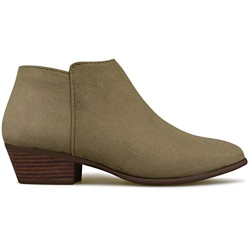 Toe Bootie Heel Western Faux Suede Round Women's R Stacked Standard Taupe Ankle Premier q8tv00