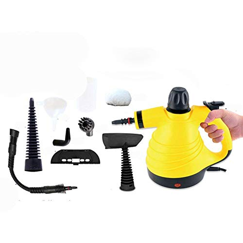 Handheld Steam Cleaner,1050W Pressurized Steamer with 6 different nozzles,300ML Big Capacity Steam Cleaner for Stain Removal, Carpets, Curtains, Car Seats, Kitchen, Bathroom, Surfaces, Floor (Yellow)