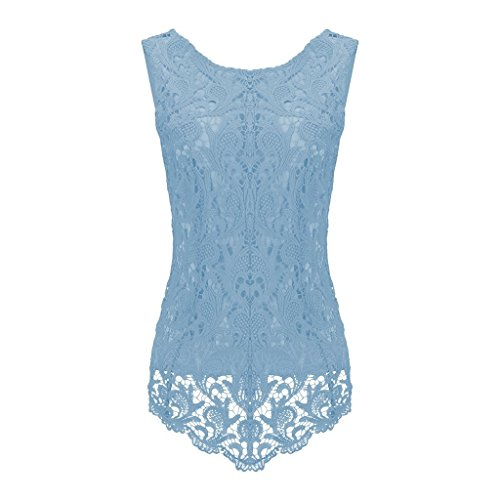 Sumtory Women's Lace Blouse Sleeveless Embroidery Tops Vest Shirt Blouse – Small, Light Blue
