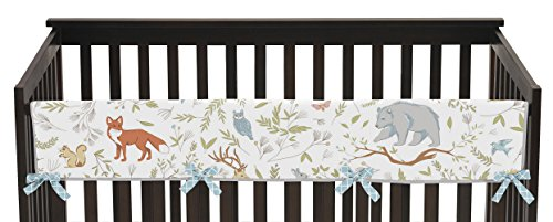 Sweet Jojo Designs Baby Crib Long Rail Guard Wrap Cover Teething Protector for Woodland Animal Toile Girl or Boy Bedding Collection