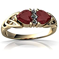 14kt Gold Ruby and Diamond 5mm Heart Celtic Trinity Knot Ring