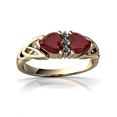 14kt Yellow Gold Ruby and Diamond 5mm Heart Celtic Trinity Knot Ring - Size 8 14kt Diamond Trinity Knot Ring