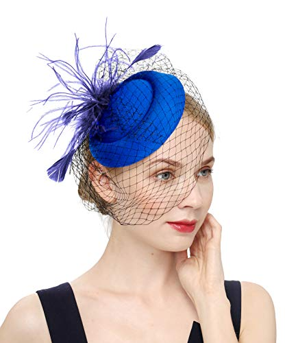 - Fascinators Hats 20s 50s Hat Pillbox Hat Cocktail Tea Party Headwear with Veil for Girls and Women (B-Royal Blue)