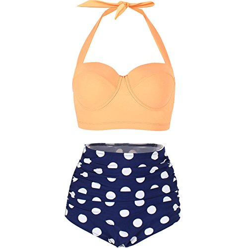 Lover-Beauty Retro Solid Top Polka Bottom Bikini Halter Two Piece Swimsuits Yellow XXL (Halter Two Piece Swimsuit)