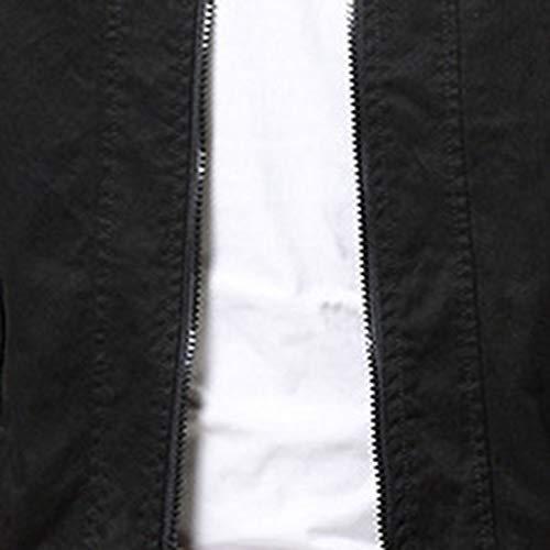 Automne Hiver Manches Longues Noir Zippé Slim Loisir Veste Homme Fashion Epaisse Chaud Fit Blouson Top Youthny 7xS1CqqP