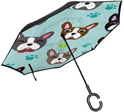 ボストンテリア子犬 ユニセックス二重層防水ストレート傘車逆折りたたみ傘C形ハンドル付き
