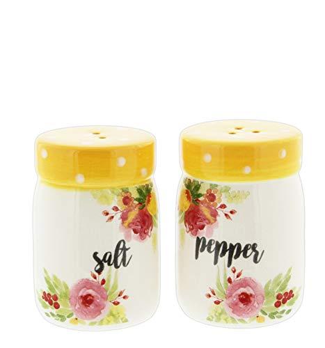 (Yellow Floral Salt & Pepper Shaker Set)