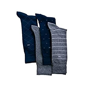 Calvin Klein Men's Classic Pattern Dress Socks 4-Pack, Navy/Grey Heather, Large