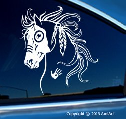 Horse Decal - WAR HORSE - Equestrian -I Love my Horse - Native American Tribal Horse Bumper Sticker Decal- LEFT. X LARGE 7.6