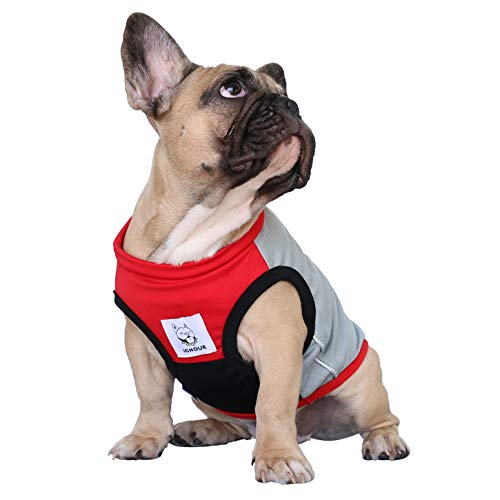 iChoue Dog Clothes Sports Vest Tee Shirt for French Bulldog Pug Boston Terrier Frenchie Pet Cloth - L Grey and Red