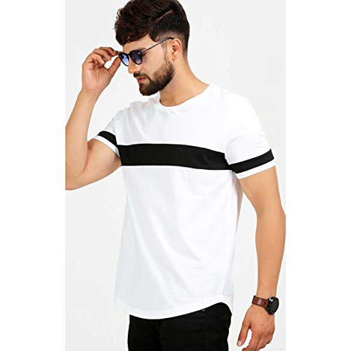 41gpUVH4w5L. SS500  - AELOMART Men's Cotton T Shirt-(Amt1072-P_White)