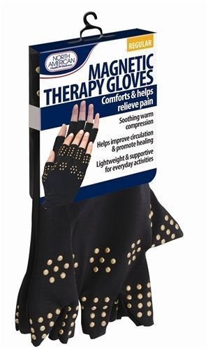 SM NEW Magnetic Therapy Gloves Compression Arthritis Circulation Supports Joints Black (Large)