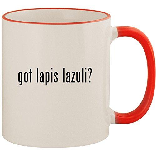 got lapis lazuli? - 11oz Ceramic Colored Handle & Rim Coffee Mug Cup, Red