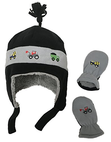 N'Ice Caps Little Boys and Baby Sherpa Lined Fleece Hat Mitten Embroidery Set (6-18mos, Black/Charcoal Trucks - Pilot Boys Fleece