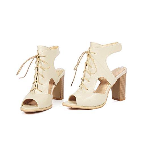 Ville Bouche Sandales Chaussures Bloc Blanc de Talons Poisson Riz Femmes qvwx5PwF0