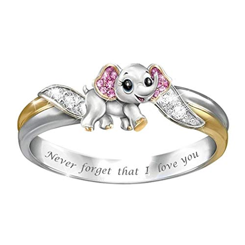 Kouye Women Cute Elephant Alloy Ring Jewelry Cocktail Party Birthday Gift Ring