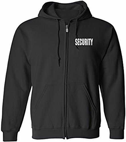 Security Silkscreen Front & Back Black Full Zip Hoodie (Security Windbreaker)