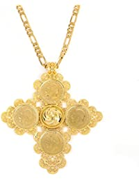 Big Size Ethiopian Cross Coin Stone Pendant For Unisex 18K Real Gold Plated Fashion Jewelry African