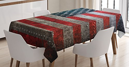 American Flag Tablecloth by Ambesonne, Royalty Flag Textured US Backdrop on Damaged Board Plate Design Artwork Print, Dining Room Kitchen Rectangular Table Cover, 52 W X 70 L Inches, Red Grey (Flag Artwork Us)